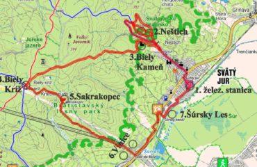 Trasa vyletu Svaty Jur - Biely Kamen - Svaty Jur